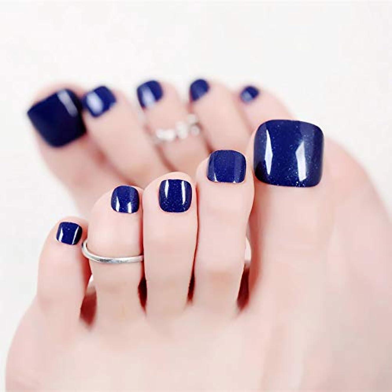 学ぶみぞれイーウェルSIFASHION 足指の爪 無地ネイルチップ 足用 24枚入 ロイヤルブルー 花嫁のネイルチップ 足 ネイル スカルプ ビーチ パーティー 24PCS