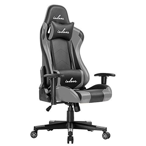 IODOOS ゲーミングチェア gaming chair 無段階約180度リクライニング パソコンチェア ゲーム用チェア ハイバック 柔らかいPUレザー ヘッドレスト付き ランバーサポート付き 事務用椅子 上下昇降機能(グレー) F-23C