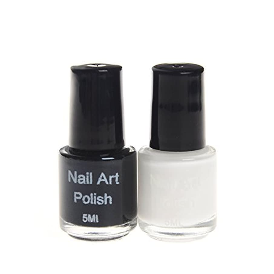 オセアニア正確さ到着スタンプネイル専用ポリッシュ 2色ホワイト&ブラックカラーマニキュアネイルアート  スタンプネイルアート