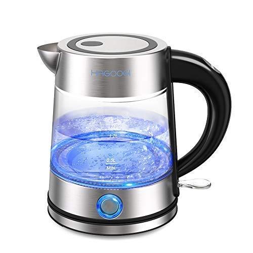 HAGOOGI 電気ケトル ステンレス ケトル お湯 ポット 高硼珪酸ガラス 安全で衛生 抗菌 湯沸かし プレゼント 贈り物 1.2L