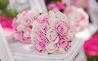 ブライダルブーケ、ピンクのバラ キャンバスの 写真 ポスター 印刷 植物・花 - (105cmx70cm)