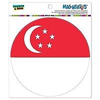 シンガポール国立国旗 - サークル MAG-格好いい'S(TM)カー/冷蔵庫マグネット