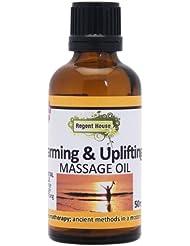 イタリア産の天然オレンジ精油を、たっぷり配合。 アロマ ナチュラル マッサージオイル 50ml ウォーミング&アップリフティング(Aroma Massage Oil Warming & Uplifting)