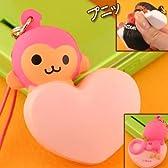 お菓子なキャラのスクイーズマスコット携帯ストラップ(ピンキー/ピンキーモンキー)