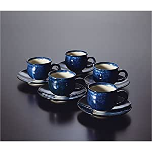会津本郷焼 ブルー小丸コーヒーカップ(五客) 化粧箱入 ¢80×65mm、皿:¢145mm×5