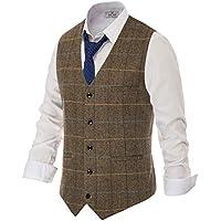 PJ PAUL JONES British Style Wool Tweed Suit Vest Mens Slim fit Vintage Waistcoat