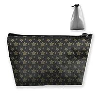 ヴィンテージスター描画パターン女性化粧品バッグ多機能トイレタリーオーガナイザーバッグ、ハンドポーチトラベルウォッシュストレージ容量ジッパー付き(台形)