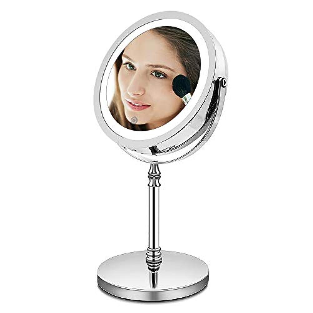 インチ不明瞭詳細なAMZTOLIFE 10倍拡大鏡+等倍鏡 化粧鏡 ライト付き 卓上鏡 ミラー 鏡 化粧ミラー メイクアップミラー スタンドミラー 360度回転 明るさ調節 日本語取扱説明書付き (タイチー)