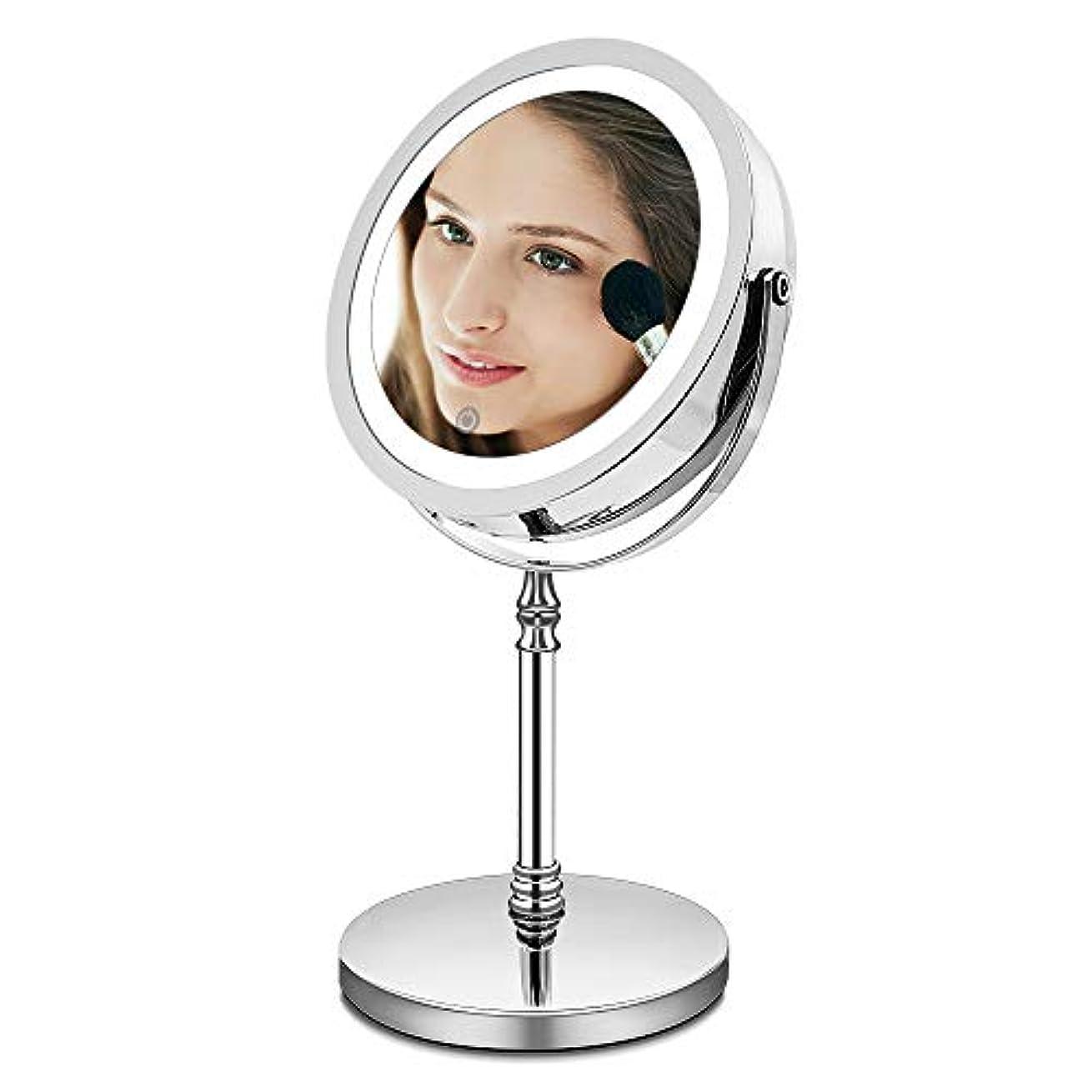 宇宙飛行士メモ居間AMZTOLIFE 10倍拡大鏡+等倍鏡 化粧鏡 ライト付き 卓上鏡 ミラー 鏡 化粧ミラー メイクアップミラー スタンドミラー 360度回転 明るさ調節 日本語取扱説明書付き (タイチー)