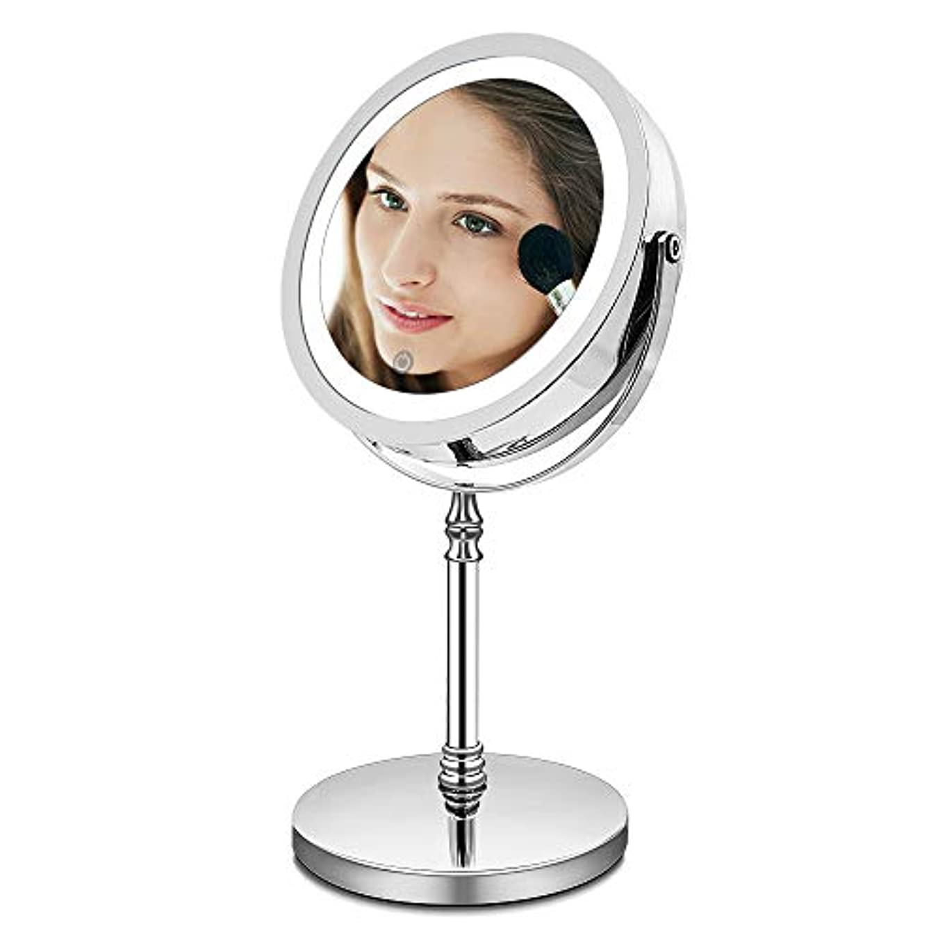 手書き真夜中お祝いAMZTOLIFE 10倍拡大鏡+等倍鏡 化粧鏡 ライト付き 卓上鏡 ミラー 鏡 化粧ミラー メイクアップミラー スタンドミラー 360度回転 明るさ調節 日本語取扱説明書付き (タイチー)