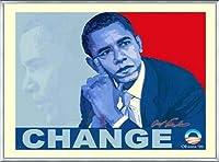 ポスター アームストロング Barack Obama change 額装品 アルミ製ベーシックフレーム(シルバー)
