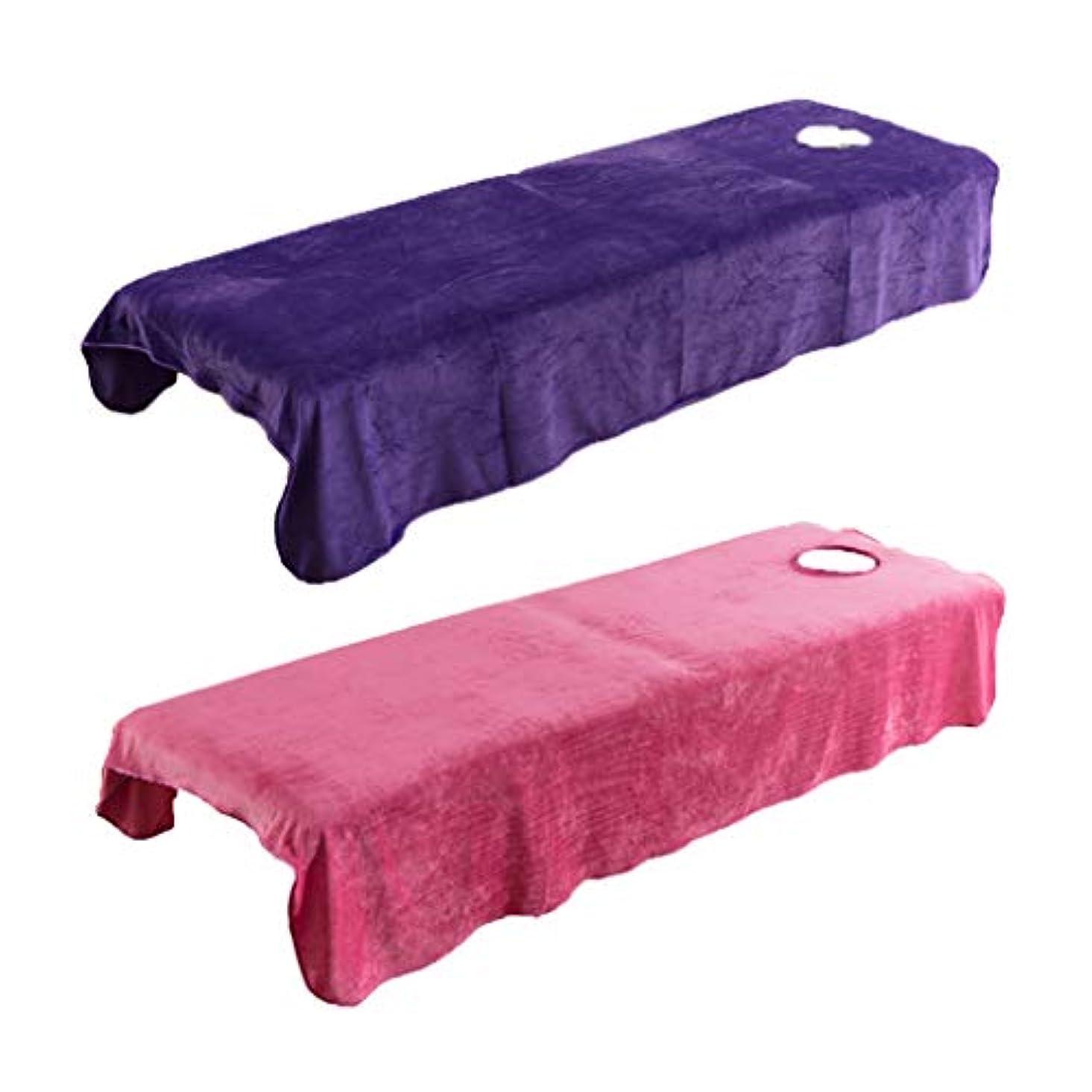 パトロン読みやすい迅速2枚 スパ マッサージベッドカバー 有孔 美容ベッドカバー マッサージ台シーツカバー 快適 通気性