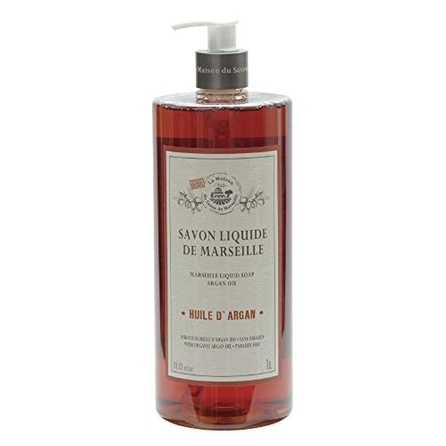研磨剤バスケットボールクラスノルコーポレーション マルセイユ石鹸 リキッドソープ 1L アルガンオイルの香り MLL-2-5