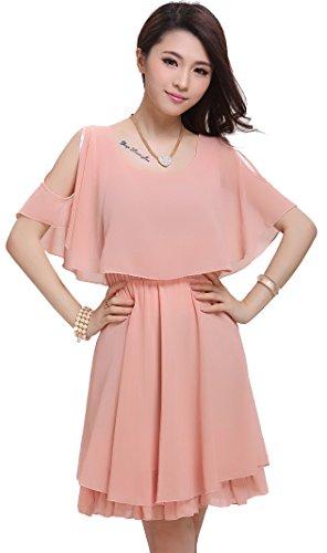 Lecpra (レクプラ) 肩開き シフォン ドレス ワンピース レディース 白 黒 桃 赤 水色 (S M L XL XXL 3XL) 結婚式 (XL, ピンク)