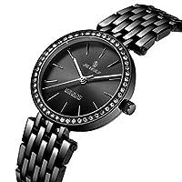 ダイヤモンドクォーツ時計メンズファッションホットウォッチリストウォッチ防水カジュアル(ブラック)