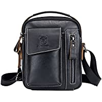Genda 2Archer Men's Leather Small Shoulder Crossbody Messenger Bag Briefcase