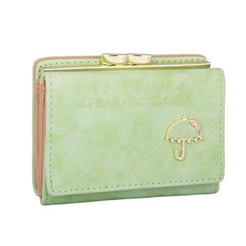 fd7f41d70330 Adoptfade 財布 レディース 三つ折り財布 がま口 カード収納 小銭入れ 軽量 小さい おしゃれ グリーン
