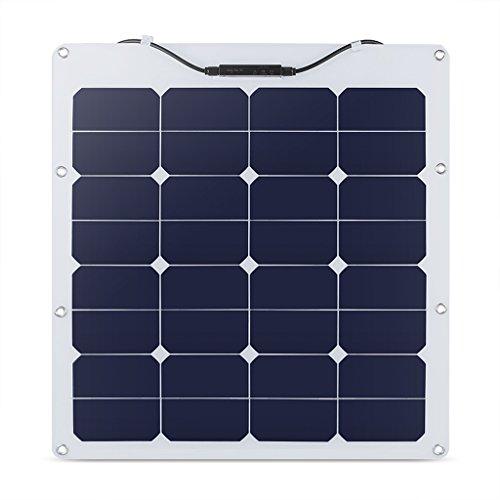 suaoki 50W ソーラーパネル 太陽光発電 単結晶 変換効率25% フレキシブル 超薄型 携帯便利 キャンピングカー 船舶 テント アウトドア 防災などに活躍 TPS-105(32)-50W-SF