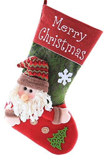 Bestmoodクリスマス ソックス 可愛い クリスマスツリー飾り ギフトバッグ プレゼント袋 クリスマス用品 サンタ靴下 壁掛け 装飾 お菓子入り 置物(FREESIZEB)