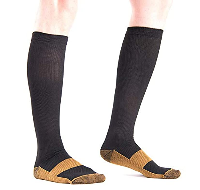 狐応用爵着圧ソックス 銅圧縮 コンプレッションソックス 膝下 抗疲労 男女兼用ユニセックス (L/XL, ブラック)
