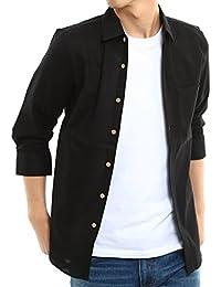 インプローブス 綿麻 シャツ 長袖 七分袖 ウッド調ボタン スリム 細め 細身 パナマ織りシャツ メンズ