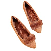 [happylaladream] レディース パンプス 靴 ファーパンプス ローヒール/ブラウン (24.0cm)