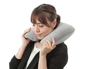 携帯型 折り畳み トラベルエアー ネックピロー 洗えるカバー 持ち運びに便利な収納ポーチ付 グレー AKEMIDO