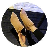 [LOVEラブ] 女性のスティレットマーチンブーツ 2019新しいハイヒールの秋冬のとがった踝のブーツ,38,アプリコット5CM