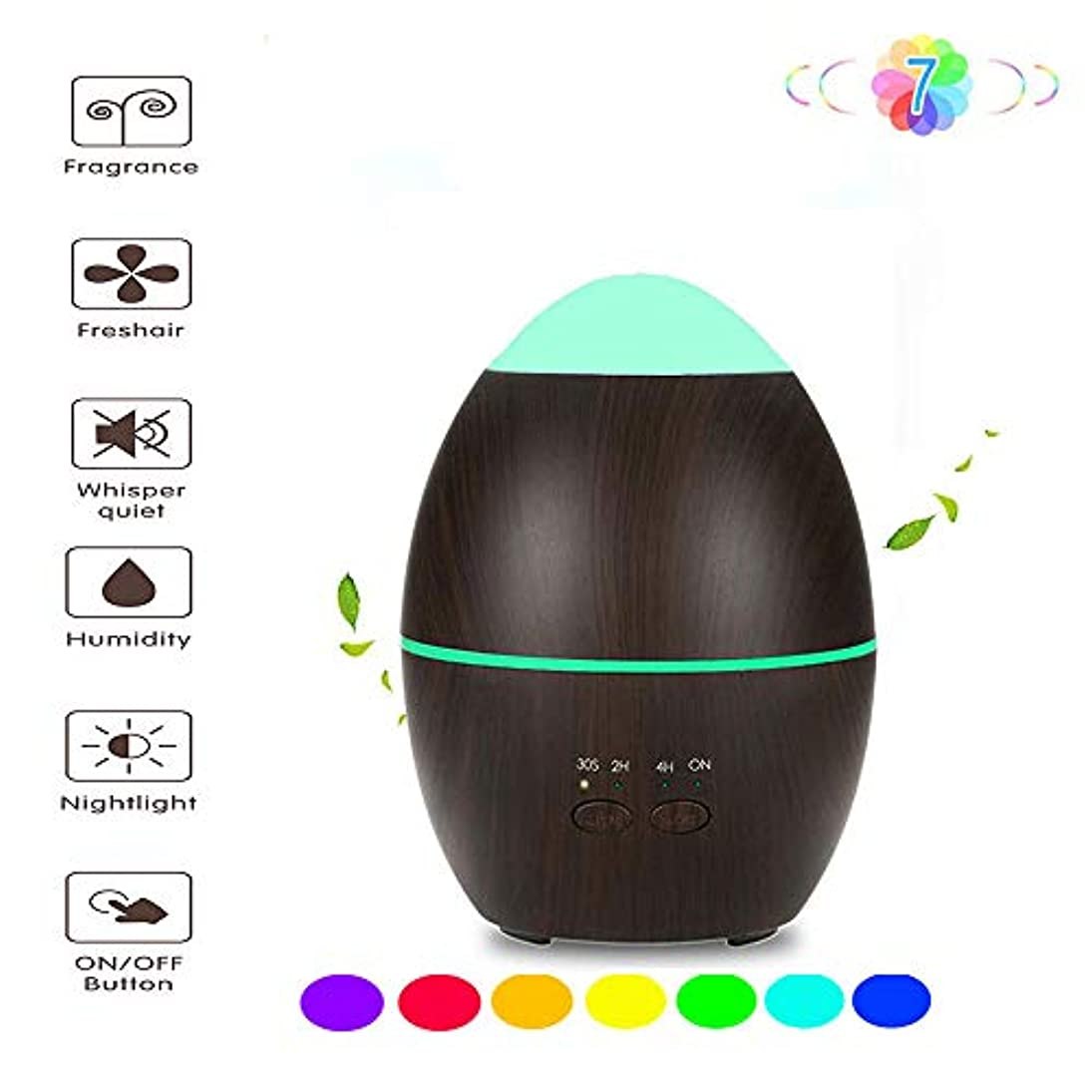 メディア否定する不満アロマディフューザー、超音波エッセンシャルオイル加湿器 - 魅力的な7色LEDナイトライト - タイミング設定 - ウォーターレス自動閉300ML