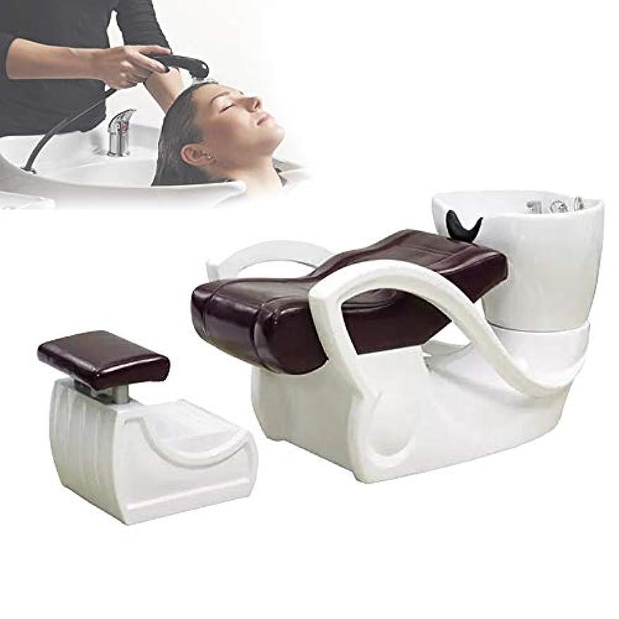 市民失業私達シャンプーベッド、 スパサロン機器セラミック洗面器シャンプー椅子の逆洗ユニットシャンプーボウル理髪シンク椅子