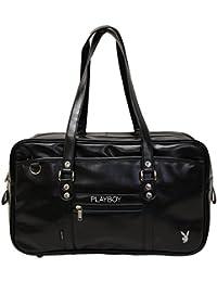 (プレイボーイ)PLAYBOY ゆったりB4サイズシルバーロゴ刺繍合皮スクールバッグ(Lサイズ) ブラック