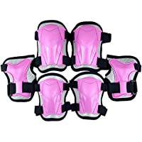 LIOOBO Kids Knee Pads Set 6 in 1 Kit Protective Gear Knee Elbow Pads Wrist Guards for Skateboard Biking Riding Cycling Rollerblading Grey Size L