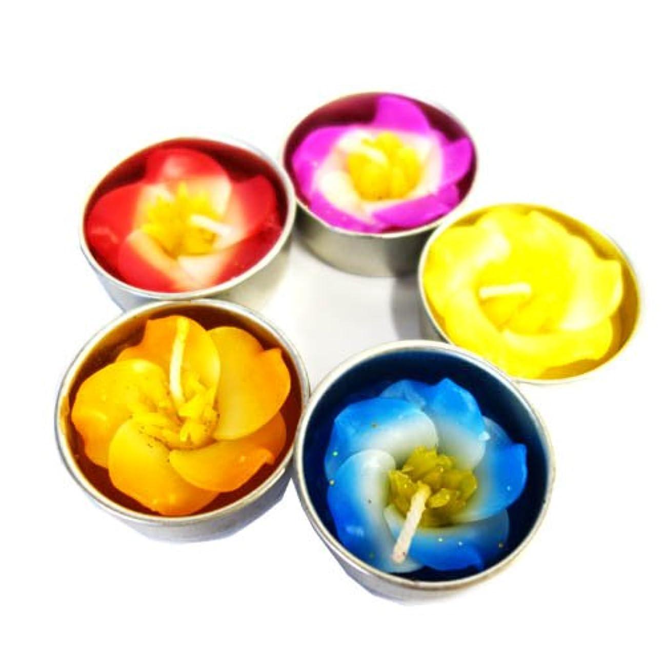 科学的順応性のある円形花/フラワーキャンドル 5個セット