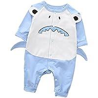 Mornyray ベビー服 ロンパース カバーオール 長袖 前開き 女の子 男の子 赤ちゃん 怪獣の仕業 肌着 インナー コットン size 80 (ブルー)