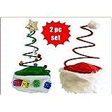 HAPPY DEALS ~ コイルスプリングクリスマスハット2点セット - クリスマスツリーハット+コイルサンタハットセット ドレスアップ クリスマスパーティーハット