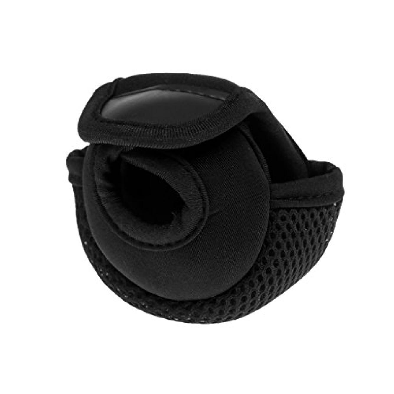コンソールスパイラルトーンFenteer 2カラー選択 耐摩耗 釣りリールカバー 保護ポーチ バッグ ベイトキャスティングリール用 ブラック