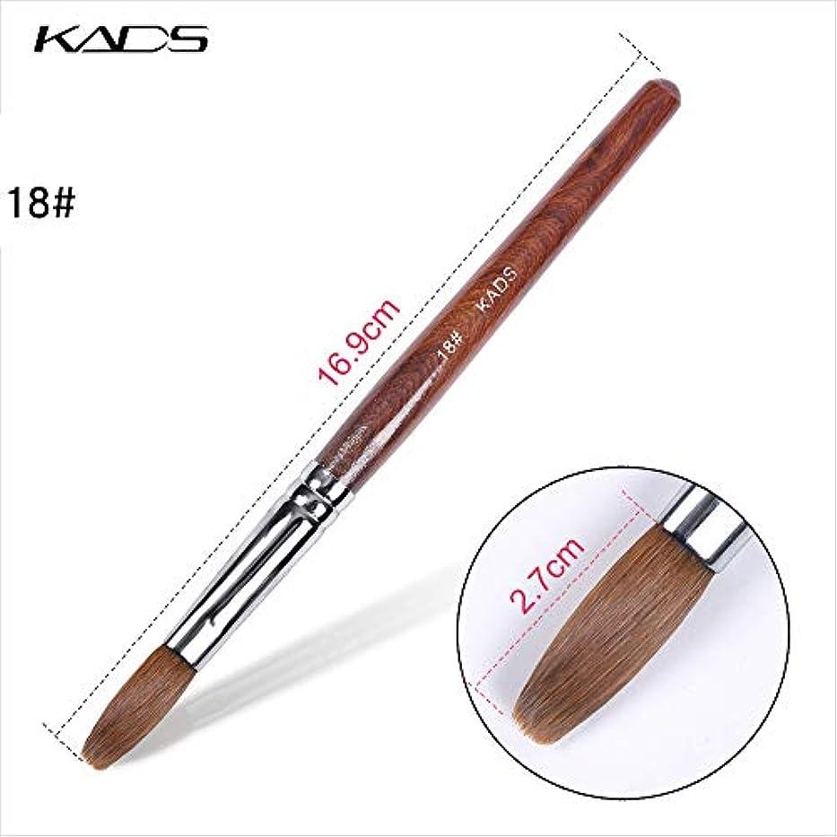 目に見えるインストール反発KADS ネイルブラシ 高品質コリンスキー製 18# ウッドハンドル 高級感 スカルプネイル用筆 ネイルアート専用ブラシ (18#)