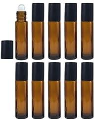 ロールオンボトル 10ml 10本セット アロマオイル 遮光瓶 ガラスロールタイプ 手作り香水 (ブラウン/10ml?10本)