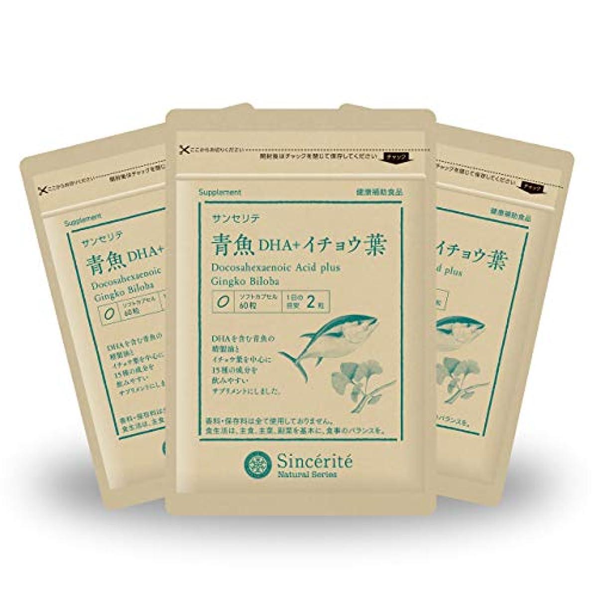 罪人スケート小競り合い青魚DHA+イチョウ葉 3袋セット[送料無料][DHA]101mg配合[国内製造]お得な★90日分
