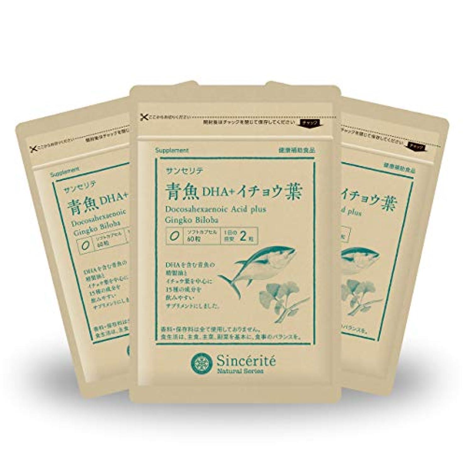 廃棄する肘圧縮された青魚DHA+イチョウ葉 3袋セット[送料無料][DHA]101mg配合[国内製造]お得な★90日分