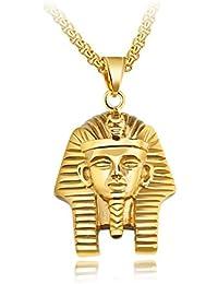 MFYS Jewelry ファッション メンズ アクセサリー エジプトのファラオ 国王 Hip Hop パンク系 ロック風 ペンダント ネックレス (チェーン付) 【専用ジュエリーBOX付】 (ゴールド)