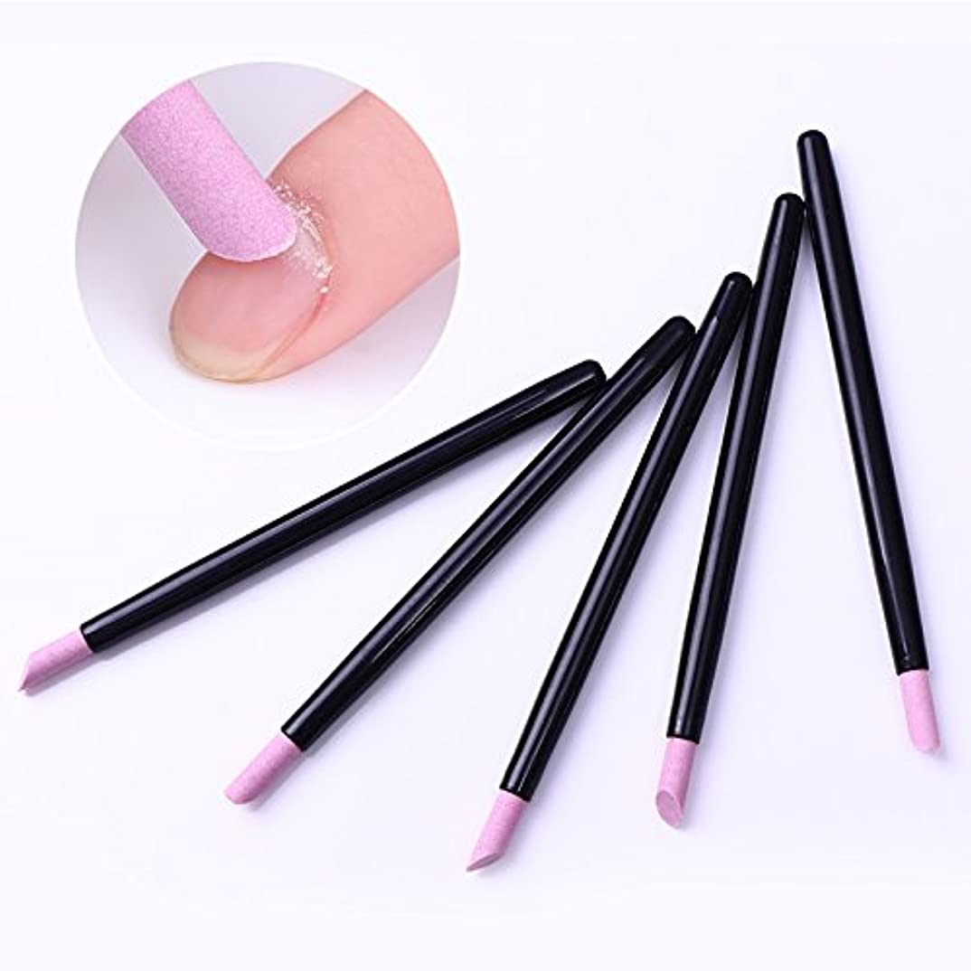 まろやかな小道具ハンカチ5Pcs Cuticle Remover Pusher Trimmer Quartz Stone Scrub Pen Nail Tool Black Handle Manicure Nail Care Tool キューティクルリムーバープッシャートリマークォーツストーンスクラブペンネイルツールブラックハンドルマニキュアネイルケアツール