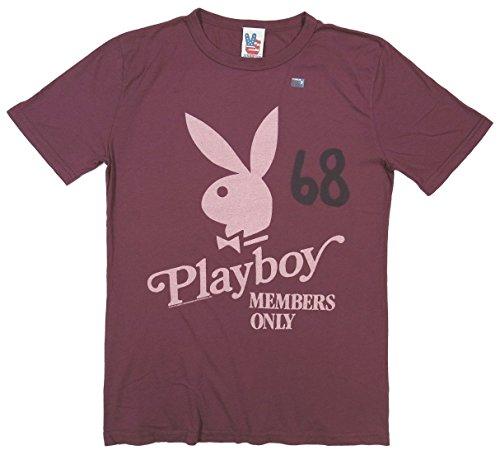 (ジャンクフード)JUNK FOOD 日本別注 USA産 PLAYBOY プレイボーイ 半袖 Tシャツ CABERNET(ワインレッド) S (US規格 XS相当)