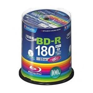 三菱ケミカルメディア Verbatim 1回録画用 BD-R(Video) 100枚 VBR130RP100SV4 (片面1層/1-6倍速/100枚)