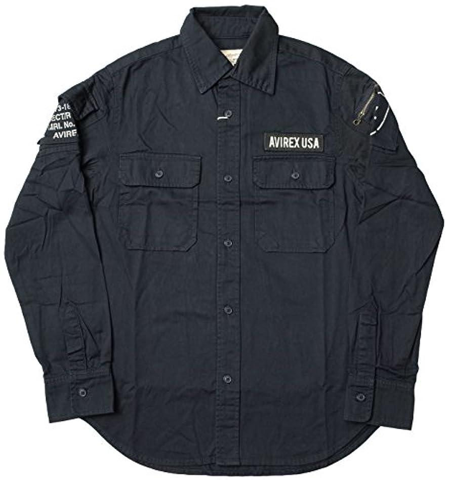 破滅的な懐疑的成功したAVIREX #6175140 長袖 ファティーグ カーキ シャツ