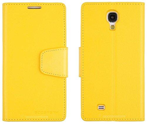 No.922-4液晶保護フィルム付正規品samsung docomo GALAXY S4(SC-04E/ドコモ版)対応 sⅣ ケース MERCURY GOOSPERY LEATHER FLIP DIARY COVER CASEカラー/yellow(イエロー)黄色サムスン  ドコモ ギャラクシー カバー ダイアリー 手帳型 フリップ ワンセグアンテナ対応 レザー カード収納 スタンド機能