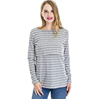Smallshow Women's Maternity Long Sleeve Striped Nursing Tops
