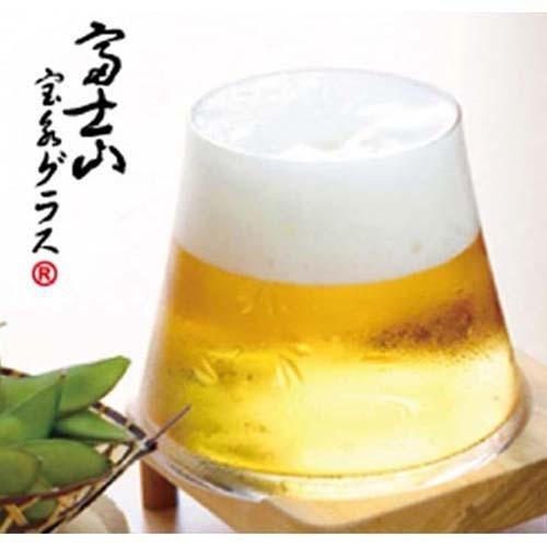 【贈り物に】手づくり江戸硝子 富士山 宝永 グラス 富士桜切子 木箱入り 和風ギフトラッピング付き