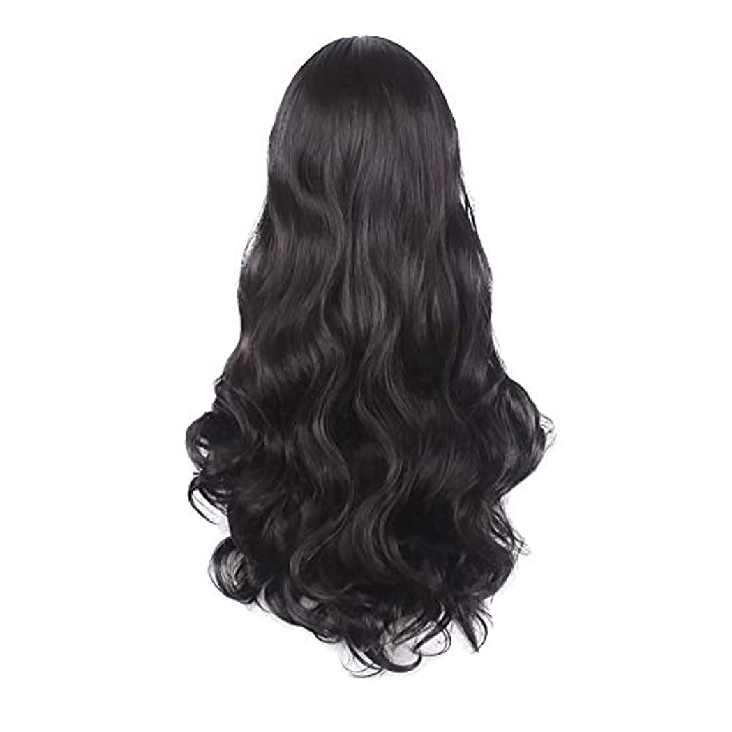 一回バンガロー学校の先生女性の黒の長い波状の巻き毛のかつらパーティーCOS小道具かつらをかつら
