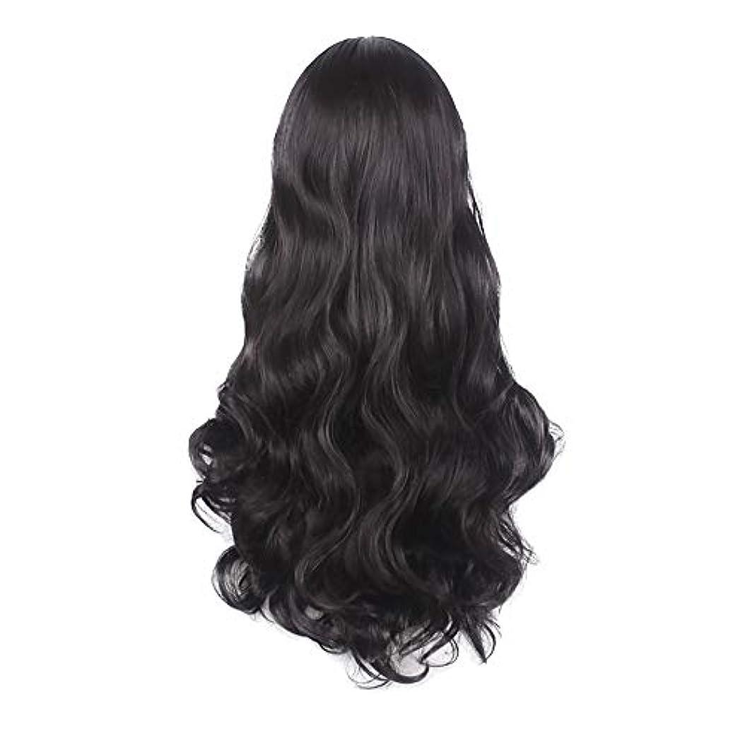 受け入れた衝突コース平和な女性の黒の長い波状の巻き毛のかつらパーティーCOS小道具かつらをかつら